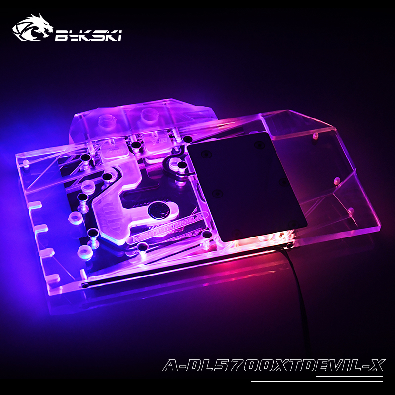 Bykski Water Block Use For PowerColor 5700XT Red DEVIL/ Dragon / Full Cover Copper Radiator Block / 3PIN 5V A-RGB / 4PIN 12V RGB