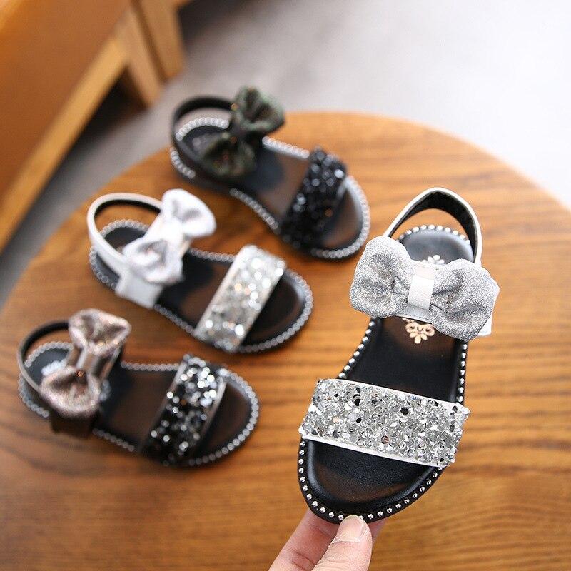 New 2020 Children Kids Baby Beach Flat Sandals Shoes Summer Girls Sandals Fashion Bowknot Glitter Princess Girls Shoes