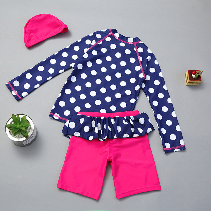 Korean-style GIRL'S Children Split Type Long Sleeve Polka Dot Children Sun-resistant Bathing Suit Crown Boxers Baby Swimwear Qui