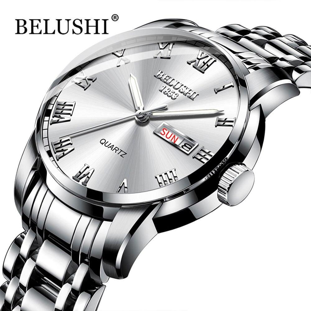 Belushi The mens' watches Classics 2019 New Luxury Brand Watch Men Waterproof Stainless steel Date Clock Silver Erkek kol Saati