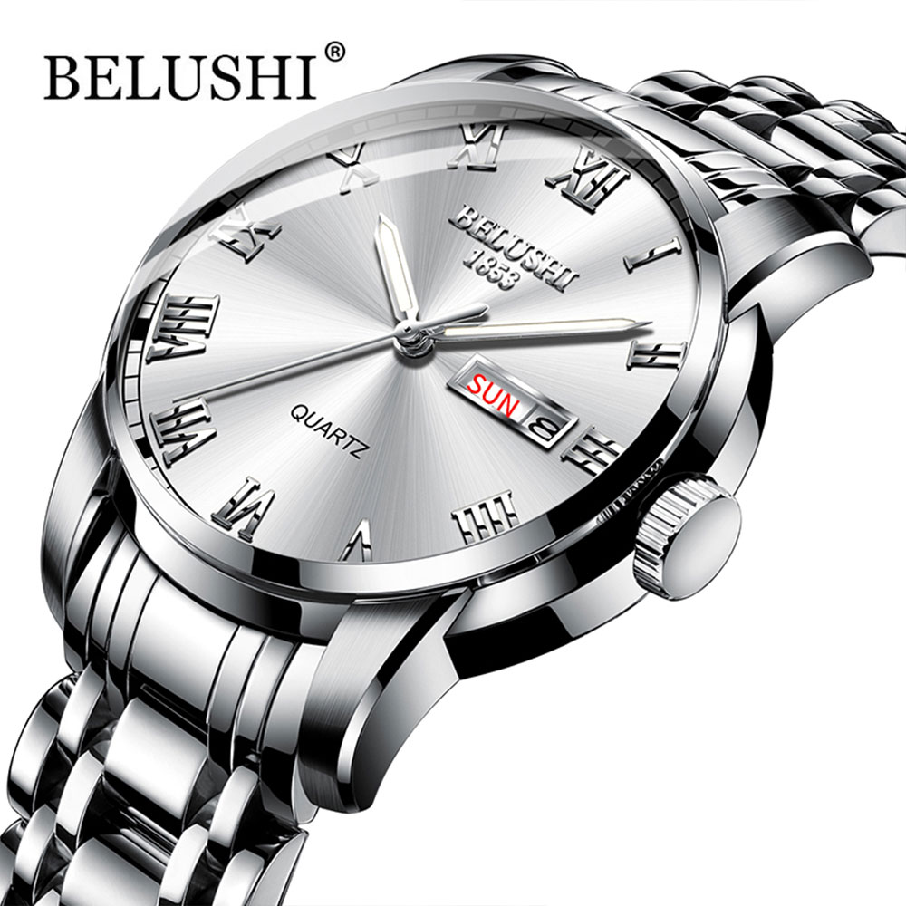 Belushi The Mens' Watches Classics 2019 New Luxury Brand Watch Men Waterproof  Stainless Steel Date Clock Silver Erkek Kol Saati