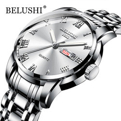 Belushi męskie zegarki klasyczne 2019 nowy luksusowy zegarek marki mężczyźni wodoodporna stal nierdzewna data zegar srebrny Erkek kol Saati w Zegarki kwarcowe od Zegarki na