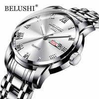 Belushi os homens relógios clássicos 2019 nova marca de luxo relógio masculino à prova dwaterproof água aço inoxidável data prata erkek kol saati