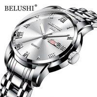 Belushi os homens relógios clássicos 2019 nova marca de luxo relógio masculino à prova dwaterproof água aço inoxidável data prata erkek kol saati|Relógios de quartzo|   -