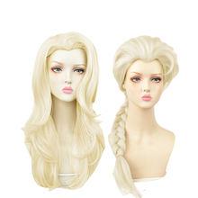 Парик для косплея принцессы из плетеных волос с золотым кончиком
