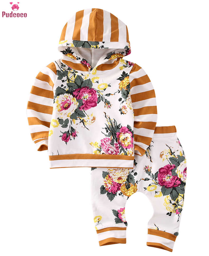 0-24M Infant Baby Girl Spring Tracksuit Floral Hoodie+Tops+Pants+Headband Outfits Color : White, Size : 0-3M