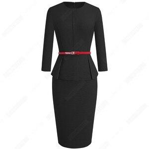 Image 2 - Automne hiver classique femmes robe daffaires élégant ceintures couleur unie moulante travail carrière robe de bureau EB473