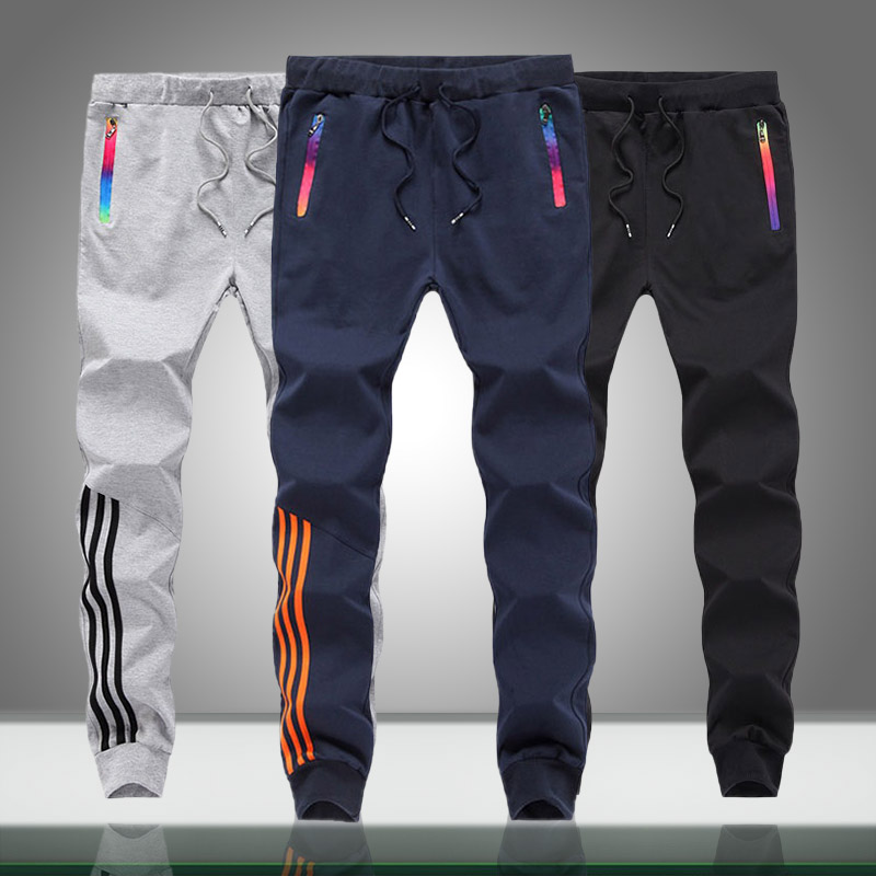 Men Casual Sweatpants Solid Striped Autumn Men's Sportswear Jogger Trouser Bodybuilding Gyms Pants Slim Fit Pantalones Hombre