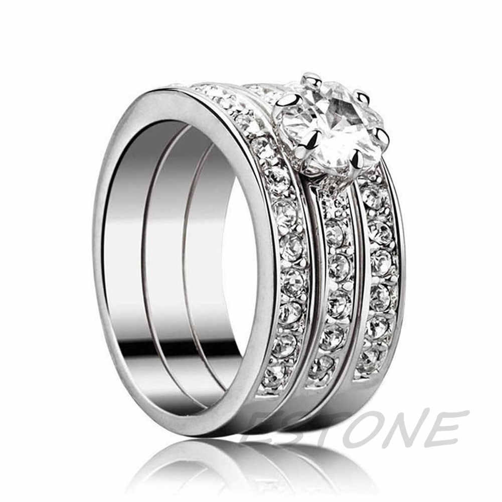 חם 3-in-1 AAA מעוקב Zirconia כסף מצופה אירוסין נישואים טבעת מתנה LX9D