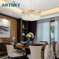 European Creative Personality Crystal Living Room Round lightHall of The Simple Atmospheric Restaurant Lighting