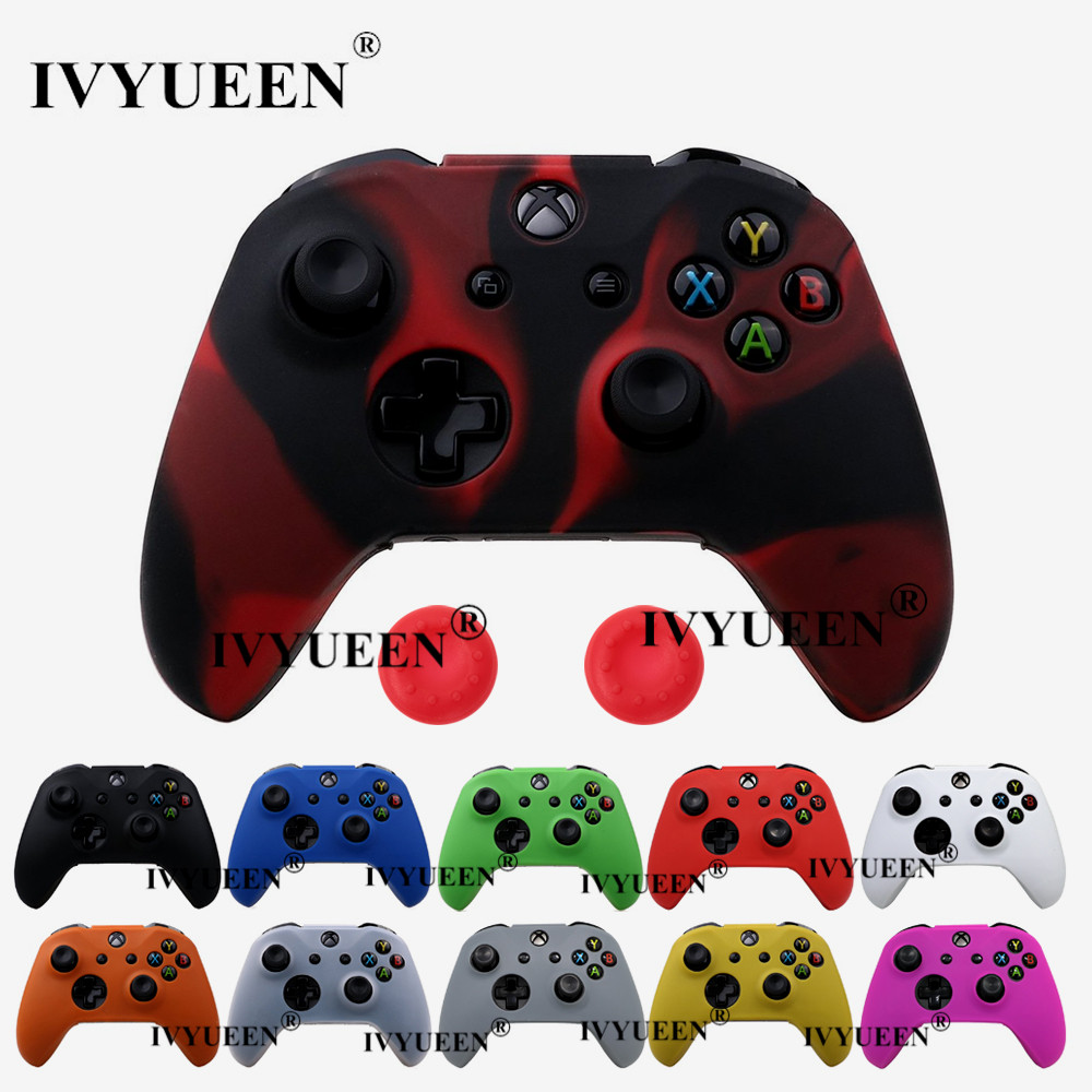 IVYUEEN 18 Colors For XBox One X S Controller Silicone Skin Case + Analog Thumb Stick Grip Cap For X Box One 1 X S Slim Joystick