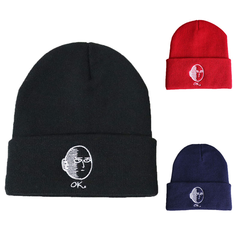 Casual Beanies Hat Anime Unisex-Cap Knitted Cotton Women New For Winter Solid-Color Hip-Hop