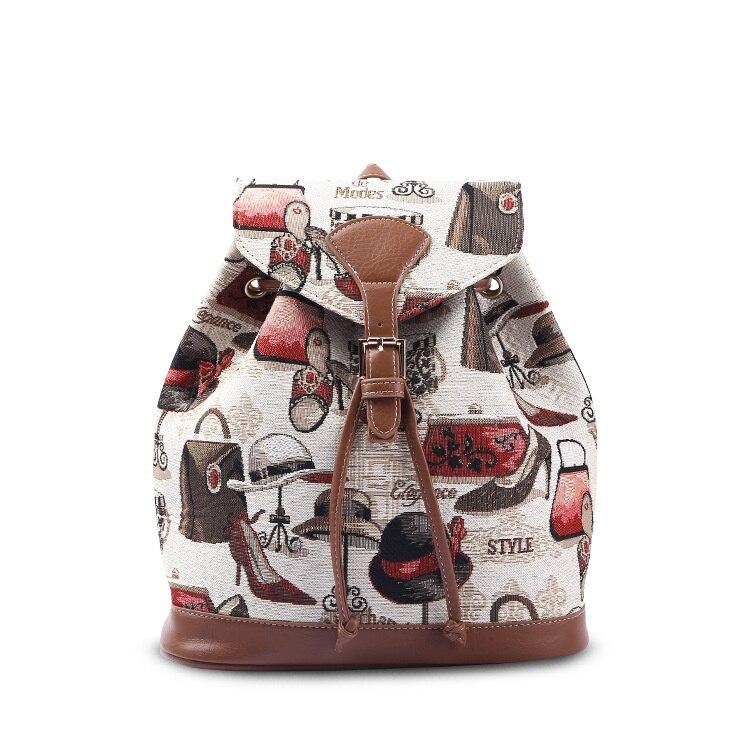 Sac à dos seau Jacquard pour femmes imprimé bracelet en polyuréthane mode vif lumière luxe cordon sac à dos pour femme filles femme 2019