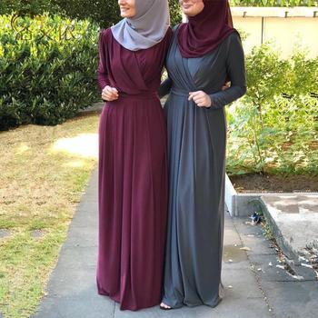 Ramadan Eid plisowana Abaya turecki hidżab sukienka muzułmańska Kaftan dubaj sukienki Islam odzież Abayas dla kobiet Vestidos Ropa Mujer tanie i dobre opinie PADEGAO Dla dorosłych Poliester Moda 19206 Suknem Skrzydeł