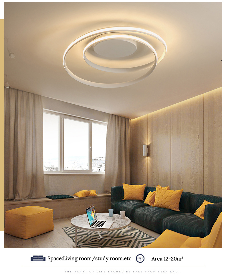 Hbc24286e7e124c0894e4f3fc62a670e8X Modern Ceiling Lights LED Lamp For Living Room Bedroom Study Room White black color surface mounted Ceiling Lamp Deco AC85-265V