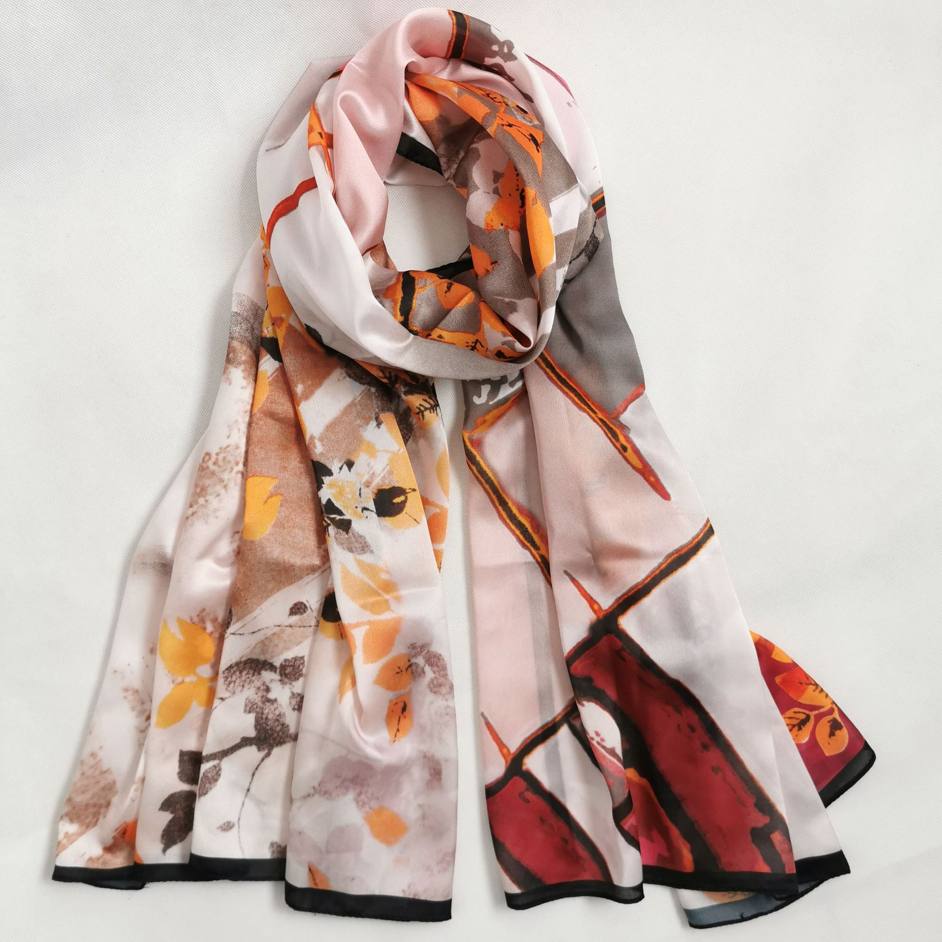 Luxury Spring And Summer Women New Style Fashion Color Matching Print Silk Scarf Lady Popular Headcloth Beach Shawl