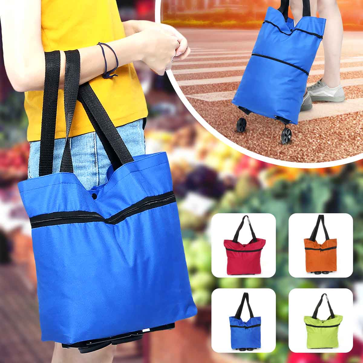Foldable Women  Colorful Shopping Cart Bag Portable Shopping Trolley Bag With Wheels Foldable Cart Rolling Grocery Supermarket