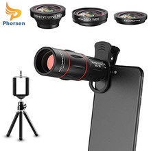 5 in 1 Universal Phone Camera Lens Kit Telephoto Lens,Wide Angle , Macro , Fisheye, Tripod for iPhone Samsung Most Smartphone