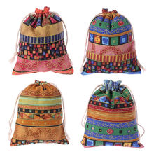 Drawstring Jewelry Pouch Cotton Linen Gift Bags Wedding Favors Egyptian Style(China)