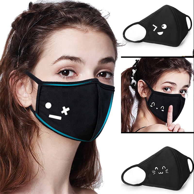 Unisex Black Breathable Warm Face Masks Protective Half Face Mouth Muffle Cotton