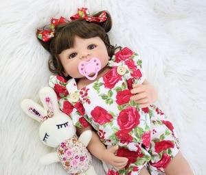 Image 5 - 55cm Full Silicone Body Reborn Baby Doll Toy For Girl Vinyl Newborn Princess Babies Bebe Bathe Accompanying Toy Birthday Gift