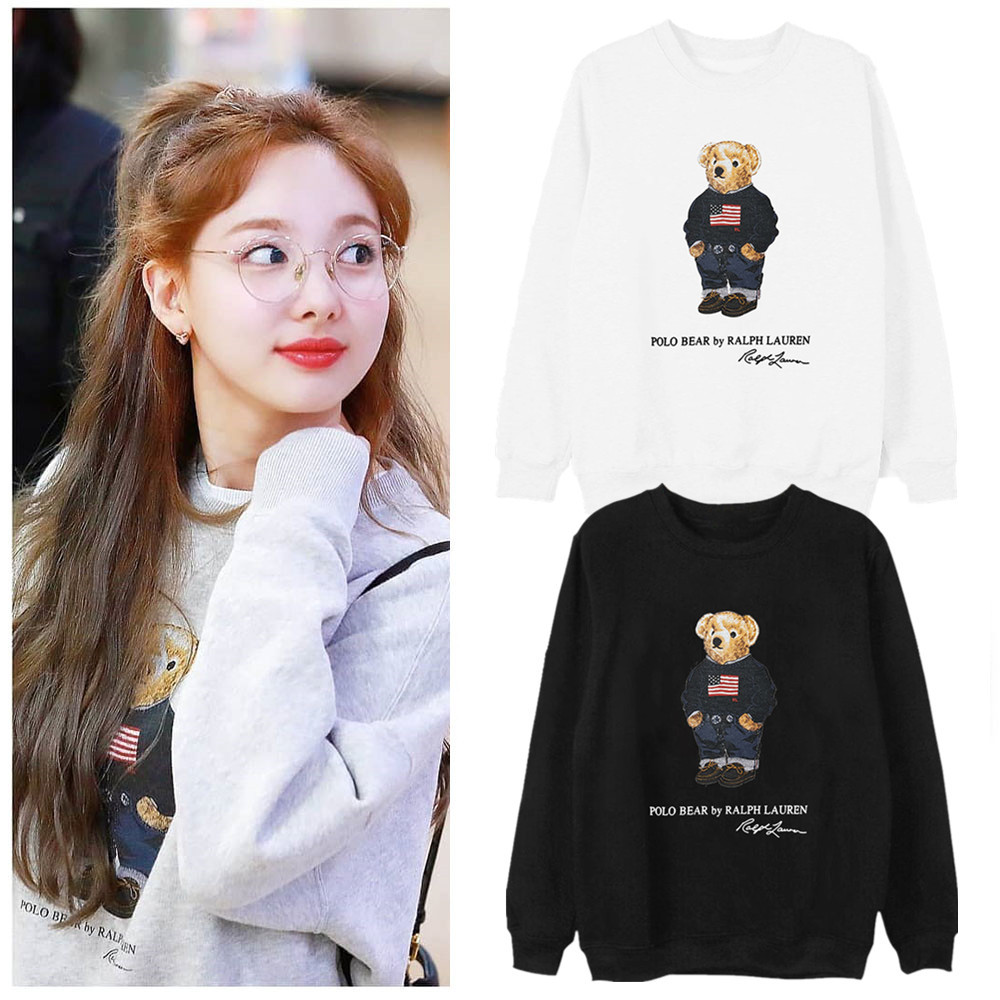 Twice Related Products Clothes Na Chain Airport Celebrity Style Round Neck Sweater Bear Cute Plus Velvet Spring And Autumn Long-