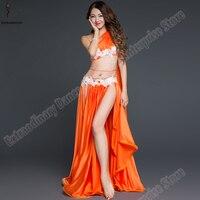 Women Oriental Top Bellydance Costume Set Eastern Outfits Bra Belt Skirt 3 Pcs Sexy Belly Dance Skirt Bead Carnival