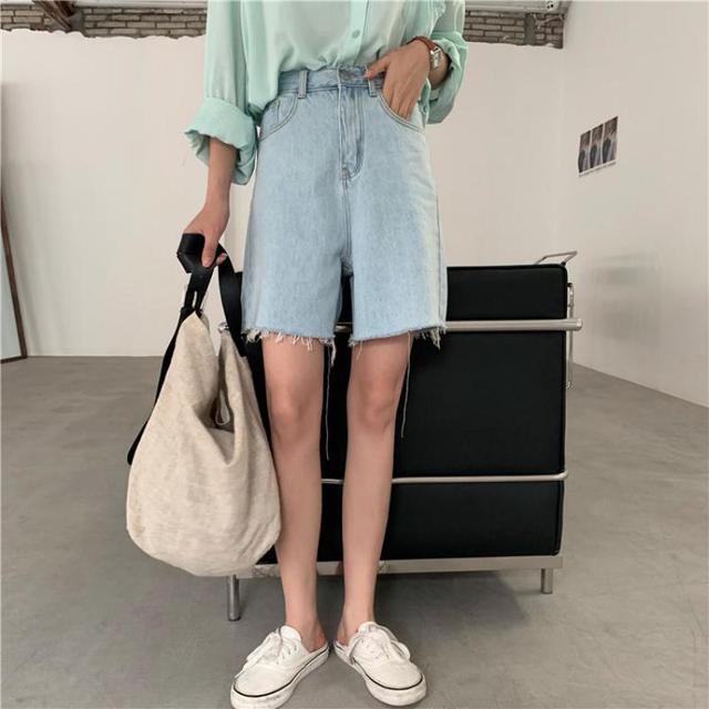 Genayooa Streetwear Biker Shorts Women Korean Style 2021 Summer Cotton Denim Shorts Jeans High Waist Cool Short Feminino Chic 3