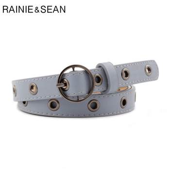 RAINIE SEAN Vintage Belts for Women Round Buckle Thin Leather Belt Female Hollow Out Blue White Holes Ladies Belts for Jeans