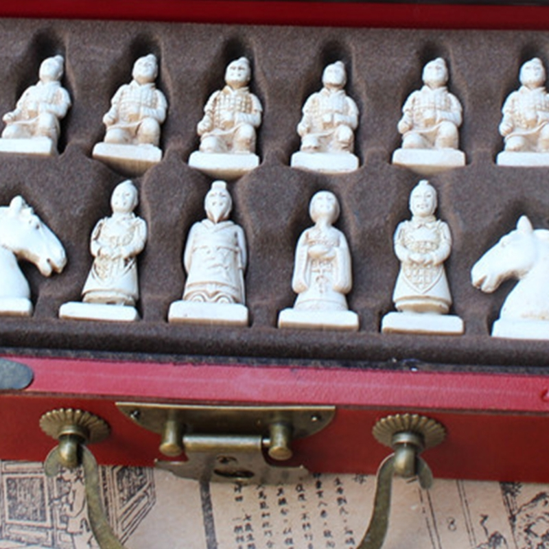 Vintage Chinese Terracotta Warrior 32 Chess Set Wood Table Chess Games Gift
