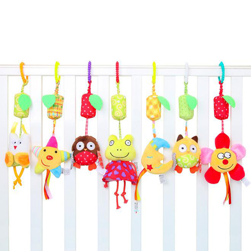 Lovely Baby Cradle Seat Cot Hanging Toys Portable Travel Baby Seat Hanging Bells Toys Rattles For Babies Car Cot Hanging Toys