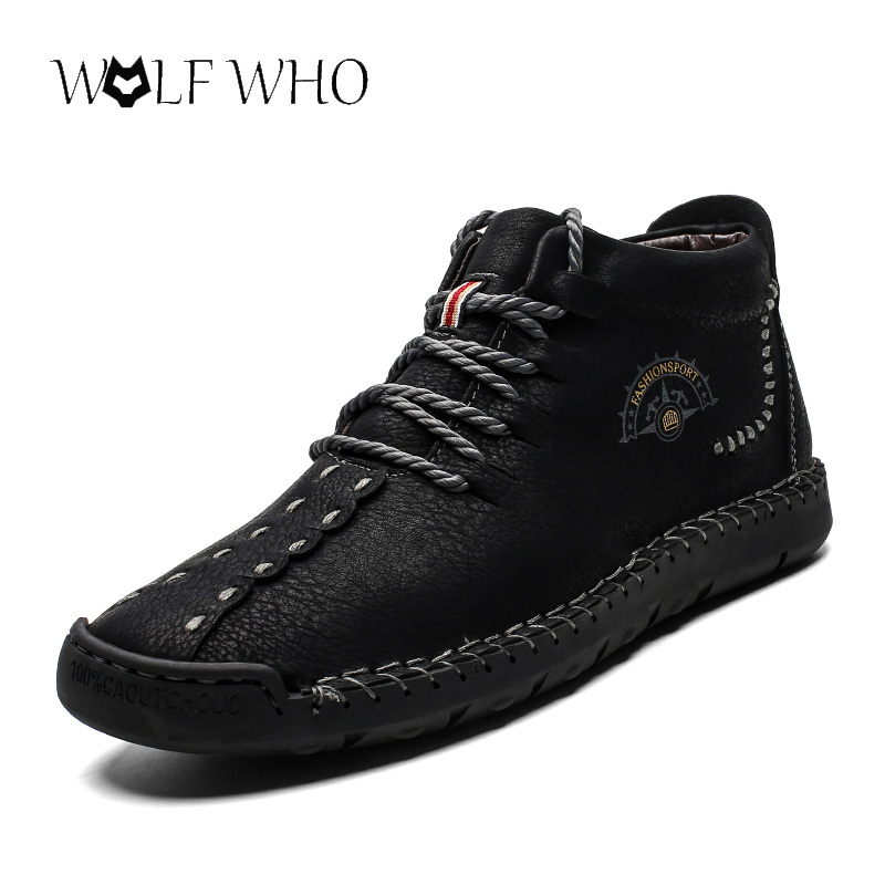 Winter Shoes Snow-Boots Ankle Split-Leather Plush Fashion High-Quality Zapatos Lace-Up