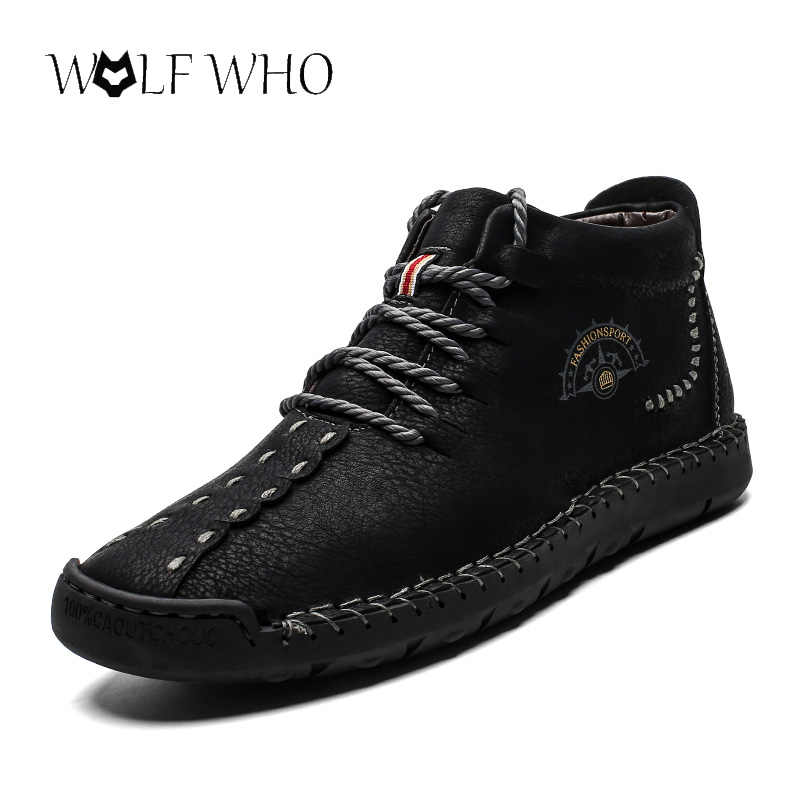 Mode Mannen Laarzen Hoge Kwaliteit Split Leather Ankle Snowboots Schoenen Warm Bont Pluche Lace-Up Winter Schoenen Plus maat 38 ~ 48 Zapatos