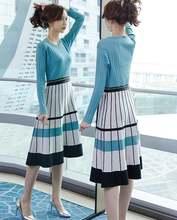Женское трикотажное платье с длинным рукавом элегантное плиссированное