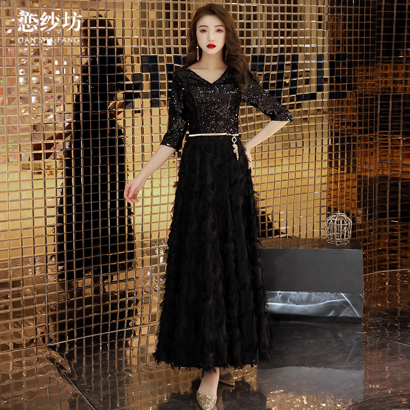 Korean-style Online Celebrity Dress 2019 New Style Banquet Nobility Elegant Debutante Black With Thin Look Evening Gown