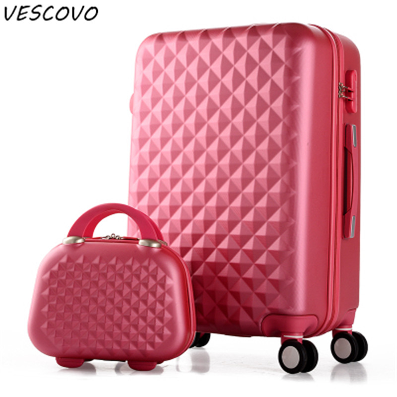 VESCOVO Korean trolley suitcase small fresh women travel suitcase set 20