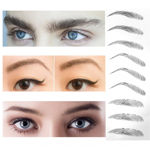 8 Style 4D Hair-like Eyebrows Professional Makeup Waterproof Lasting Eye Brow Tattoo Sticker False Eyebrow Henna Korea Cosmetic 3