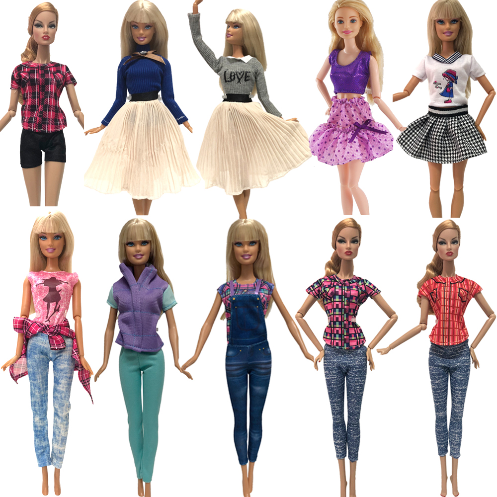 NK Hot Sale  1x Doll Dress Daily Wear Skirt Pants Vest Casual Jeans Dollhouse Outfit Clothes  For Barbie Doll Accessories G6 JJ