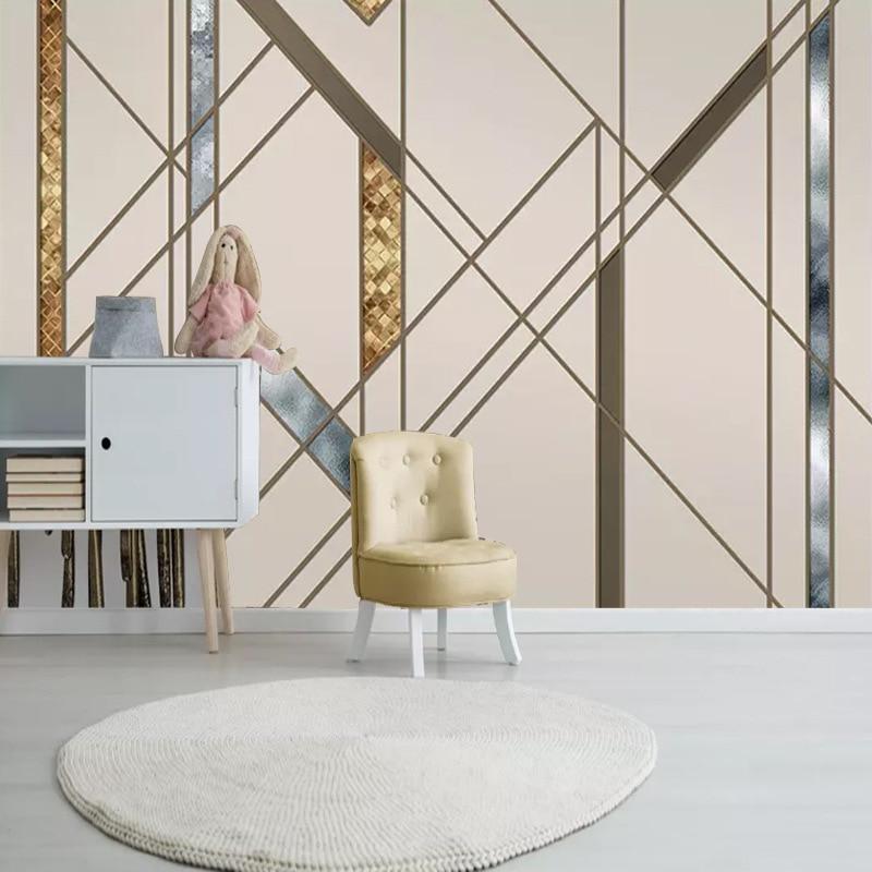 Настраиваемые скандинавские минималистичные прохладные абстрактные Геометрические линии квадратная гостиная спальня диван ТВ фон Обои