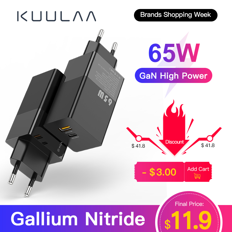 KUULAA GaN 65W USB C Charger Quick Charge 4 0 3 0 QC4 0 QC PD3