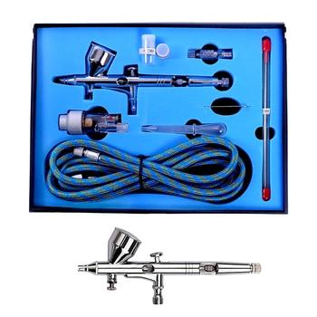 цена на Professional Airbrush Kit with 0.2/ 0.3/0.5mm Nozzle Set Dual Action Airbrush Air Kit Spray Gun Set For Nail Paint Art Air Brush