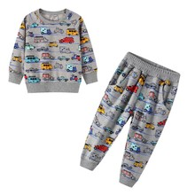 Baby Boys Clothing Sets Autumn Winter Cartoon Car Printed Cotton Boys Outfit Long Sleeve Shirt Pant Kids Clothing Suits