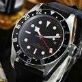 41 мм стерильный циферблат Мужские часы сапфир GMT мужские s автоматические механические наручные часы спортивные с календарем кожа светящие...