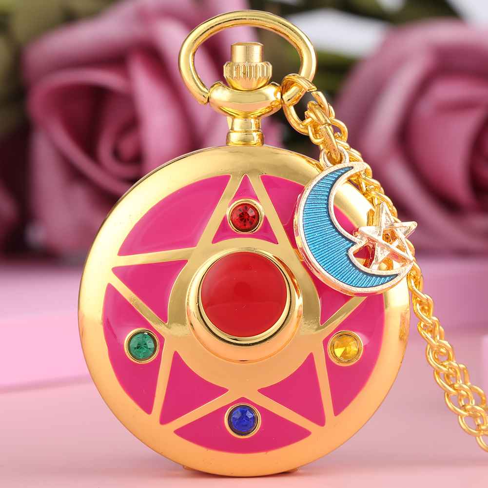 Pink Sailor Moon Theme Quartz Pocket Watch Anime Cosplay Moon/Star/Cat Pendant Clock Ladies Womens Girls Gifts Reloj Mujer