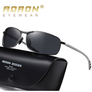 AORON Mens Polarized Sunglasses Men Classic Rectangle Sun Glasses Aluminum Leg UV400 Sunglasses Mirror Eyewear aoron photochromic polarized mens sunglasses classic rectangle sun glasses uv400 aluminum magnesium leg sunglasses