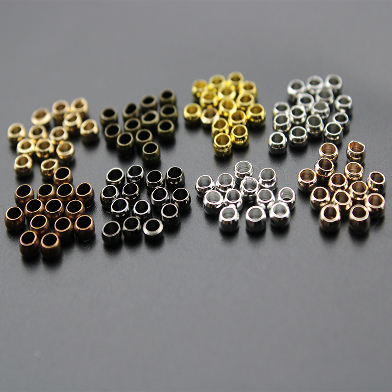 300pcs Dia 1.5 2 3 4 mm Gold Silver Copper Ball Crimp End Beads Stopper Spacer Beads For Diy Jewelry Making Findings Supplies(China)