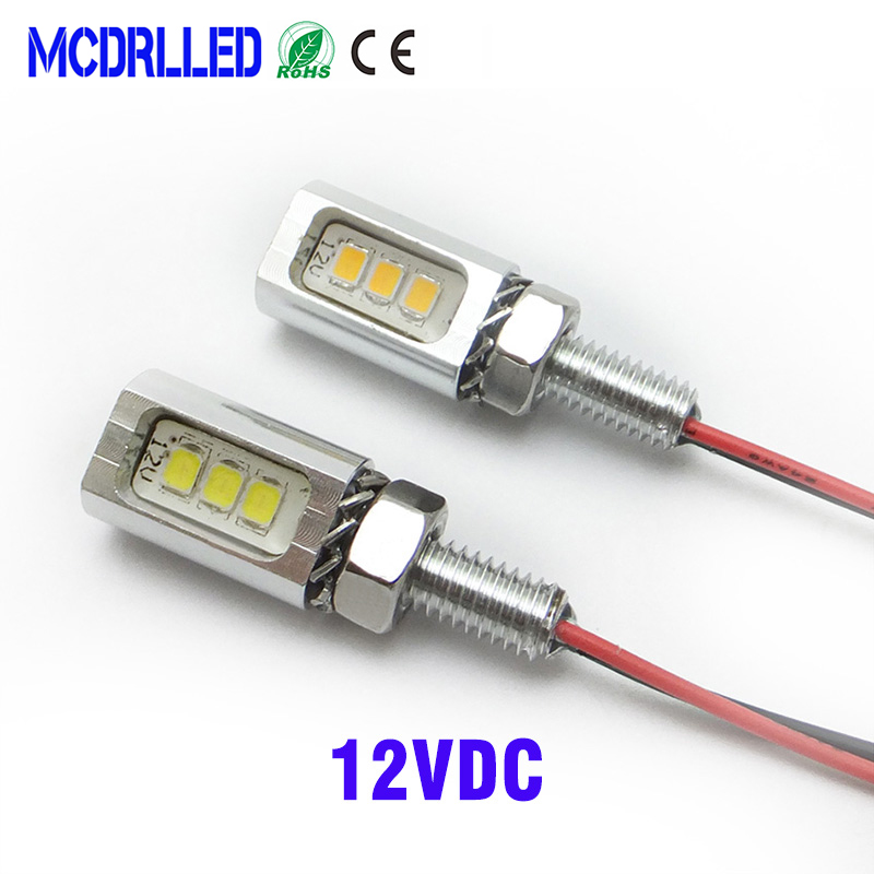 Mcdrlled 2PCS <font><b>Motorcycle</b></font> Auto <font><b>Led</b></font> Tail Number License Plate Lamp 3 SMD White Universal Screw Bolt <font><b>Lights</b></font> IP68 12V image