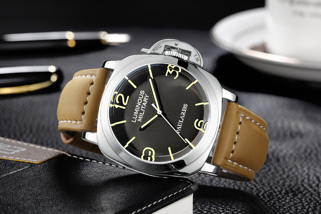 Men automatic self wind mechanical genuine brown leather strap yellow green luminous 44mm luxury rose gold military watch