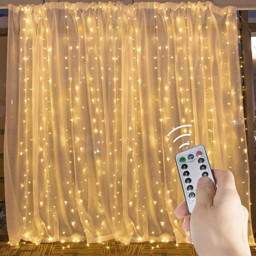 LED Curtain Light String Lights 8 Modes 300LED Remote Control USB Waterproof 3x3m Window Lights For Wedding Party Home Garden