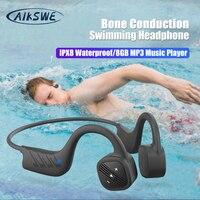 AIKSWE Knochenleitung Schwimmen Kopfhörer Bluetooth Wireless Kopfhörer 8GB IPX8 Wasserdichte MP3 Musik Player Tauchen Sport Headset